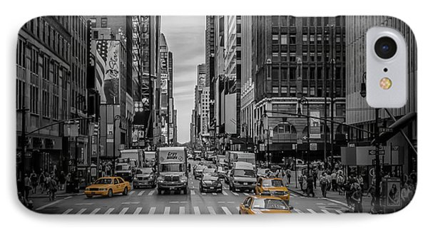 New York City 7th Avenue Traffic IPhone Case by Melanie Viola