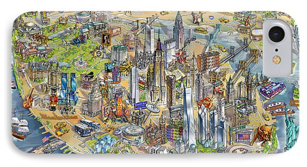 New York City Illustrated Map IPhone Case by Maria Rabinky