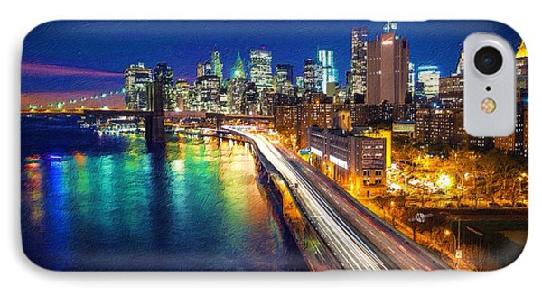 New York City Lights Blue IPhone Case by Tony Rubino