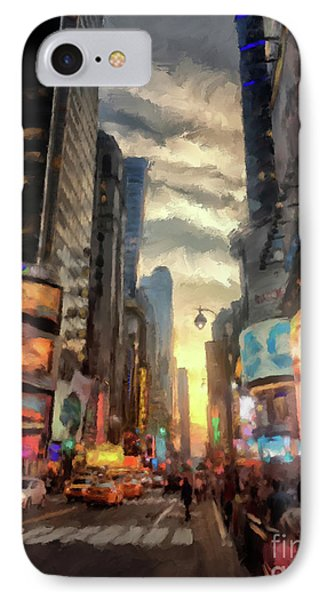 New York City Lights IPhone Case by Lois Bryan