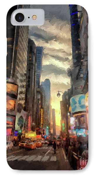 IPhone Case featuring the photograph New York City Lights by Lois Bryan