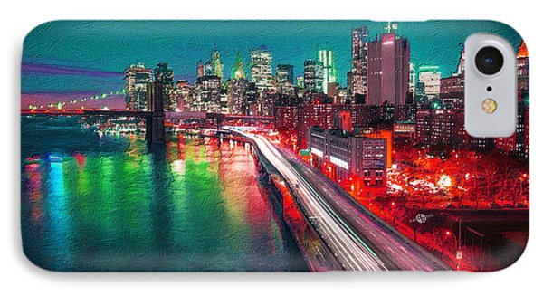 New York City Lights Red IPhone Case by Tony Rubino