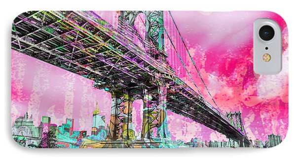 New York City Manhattan Bridge Red IPhone Case by Tony Rubino