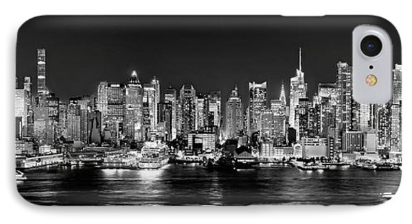 Skylines iPhone 7 Case - New York City Nyc Skyline Midtown Manhattan At Night Black And White by Jon Holiday