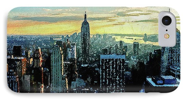 IPhone Case featuring the digital art New York City by PixBreak Art
