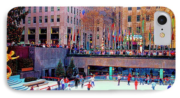 IPhone Case featuring the photograph  New York City Rockefeller Center Ice Rink  by Tom Jelen