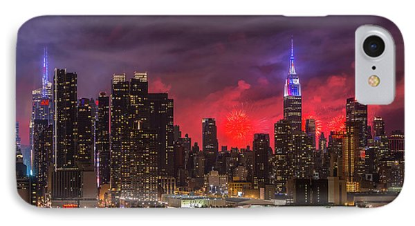 New York City Skyline And Fireworks V IPhone Case