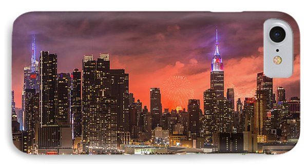 New York City Skyline And Fireworks Vi IPhone Case