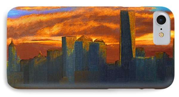 New York City Skyline Painting IPhone Case by Ken Figurski