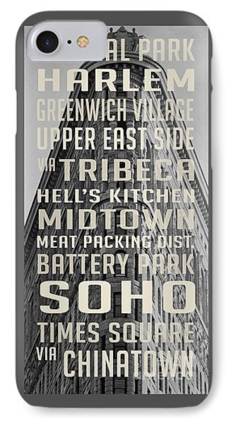 Harlem iPhone 7 Case - New York City Subway Stops Flat Iron Building by Edward Fielding