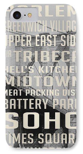 New York City Subway Stops Vintage Brooklyn Bridge IPhone 7 Case by Edward Fielding