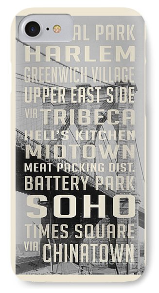 Harlem iPhone 7 Case - New York City Subway Stops Vintage Brooklyn Bridge by Edward Fielding