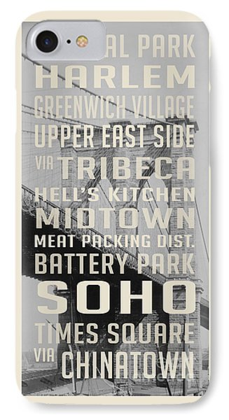 New York City Subway Stops Vintage Brooklyn Bridge IPhone Case by Edward Fielding