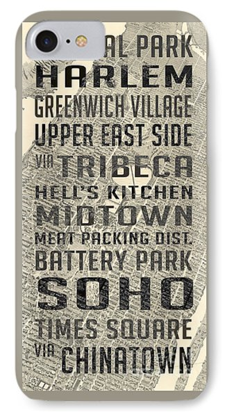 Harlem iPhone 7 Case - New York City Subway Stops Vintage Map 5 by Edward Fielding