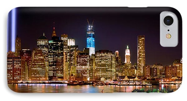 Skylines iPhone 7 Case - New York City Tribute In Lights And Lower Manhattan At Night Nyc by Jon Holiday