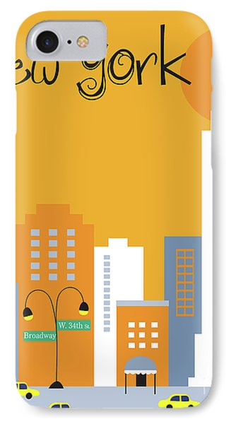 New York City Vertical Skyline - Empire State At Dawn IPhone Case by Karen Young