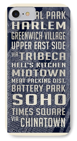 Harlem iPhone 7 Case - New York City Vintage Subway Stops With Map by Edward Fielding