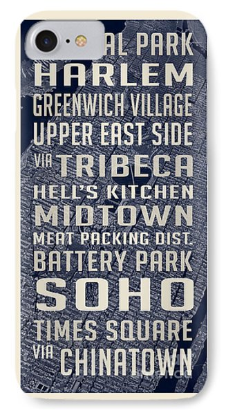 New York City Vintage Subway Stops With Map IPhone Case by Edward Fielding