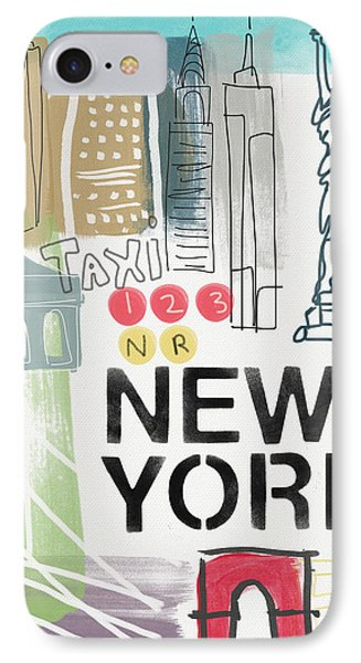 New York Cityscape- Art By Linda Woods IPhone 7 Case by Linda Woods