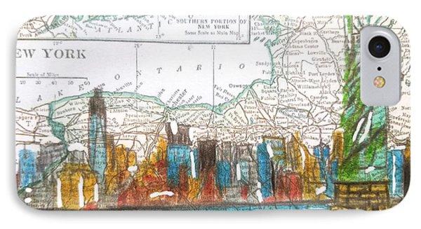 New York Cityscape Map IPhone Case by Scott D Van Osdol