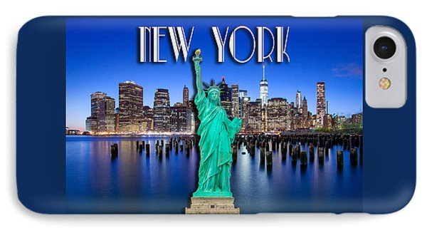 Statue Of Liberty iPhone 7 Case - New York Classic Skyline With Statue Of Liberty by Az Jackson