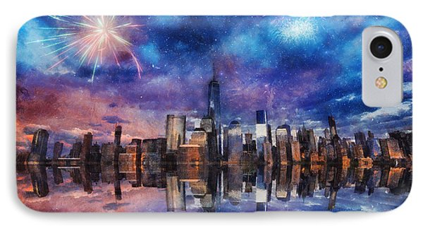 IPhone Case featuring the photograph New York Fireworks by Ian Mitchell