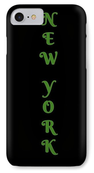 New York - Green On Black Background IPhone Case