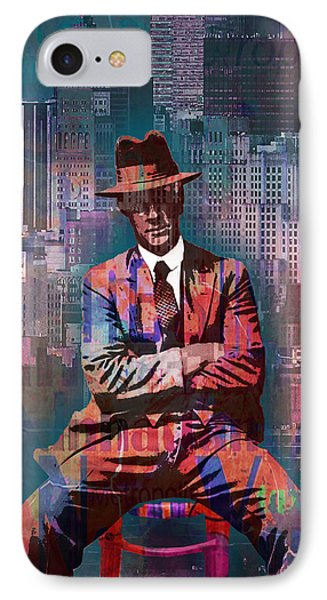 New York Man Seated City Background 2 IPhone Case by Tony Rubino