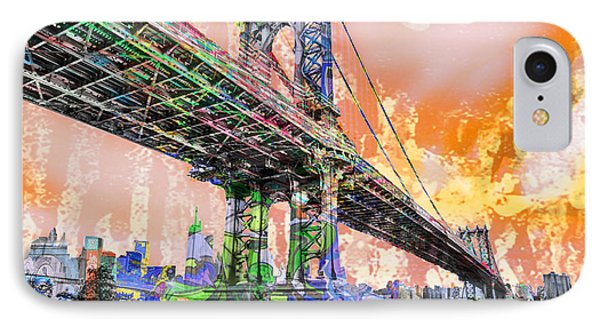 New York City Manhattan Bridge Gold IPhone Case by Tony Rubino