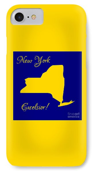 New York Map In State Colors Blue And Gold With State Motto Excelsior Phone Case by Rose Santuci-Sofranko