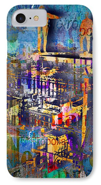 New York Men On Unfinished Skyscraper Blue IPhone Case