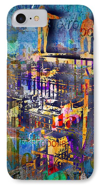 New York Men On Unfinished Skyscraper Blue IPhone Case by Tony Rubino