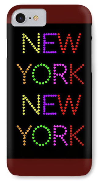 New York - Multicoloured Large On Black Background IPhone Case