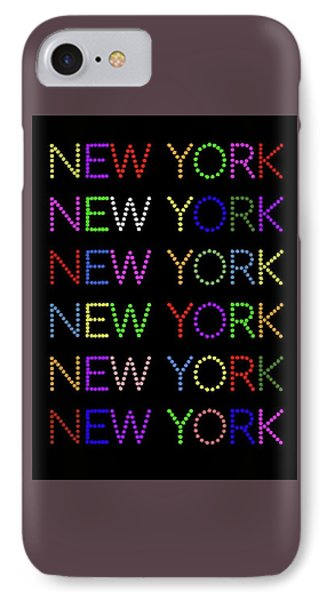 New York - Multicoloured On Black Background IPhone Case