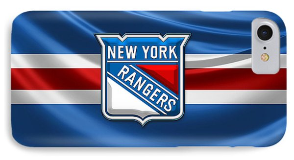 New York Rangers - 3d Badge Over Flag IPhone Case by Serge Averbukh