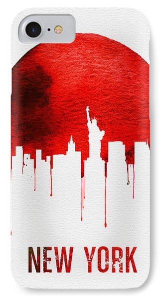 New York Skyline Red IPhone Case by Naxart Studio