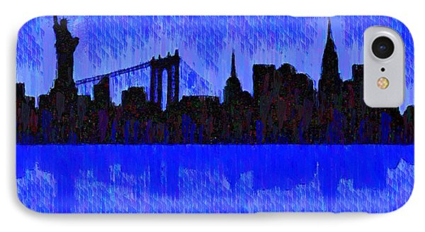 New York Skyline Silhouette Blue - Pa IPhone Case by Leonardo Digenio