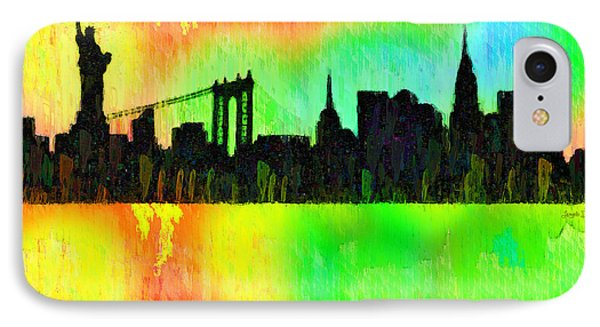 New York Skyline Silhouette Colorful - Pa IPhone Case by Leonardo Digenio
