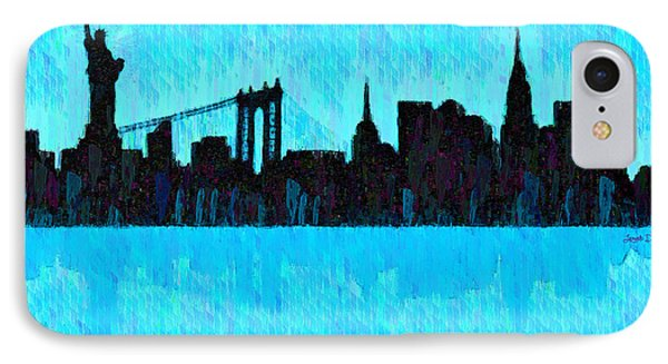 New York Skyline Silhouette Cyan - Pa IPhone Case by Leonardo Digenio
