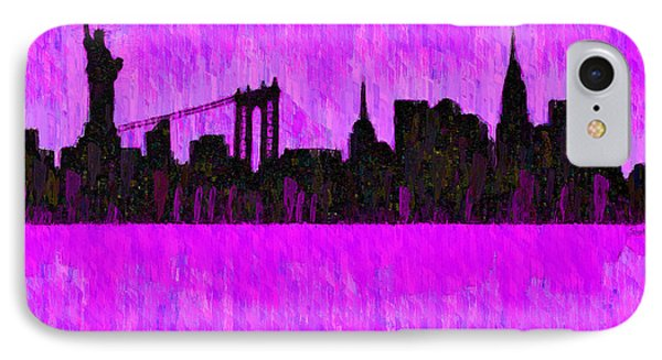 New York Skyline Silhouette Purple - Da IPhone Case by Leonardo Digenio