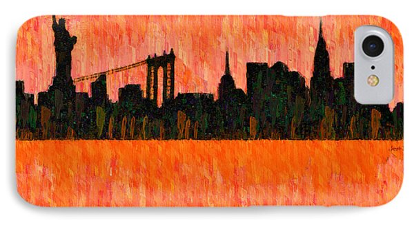 New York Skyline Silhouette Red - Da IPhone Case