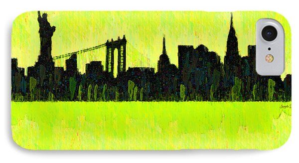 New York Skyline Silhouette Yellow-green - Pa IPhone Case by Leonardo Digenio