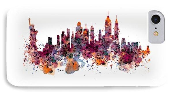 New York Skyline Watercolor IPhone Case