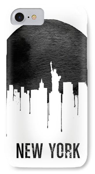 New York Skyline White IPhone Case by Naxart Studio