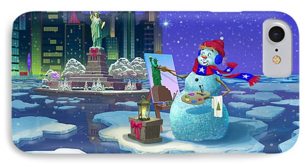 New York Snowman IPhone Case by Michael Humphries