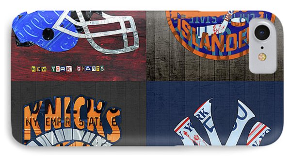 New York Sports Team License Plate Art Collage Giants Islanders Knicks Yankees IPhone Case by Design Turnpike