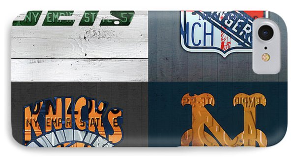 New York Sports Team License Plate Art Collage Jets Rangers Knicks Mets V2 IPhone Case by Design Turnpike