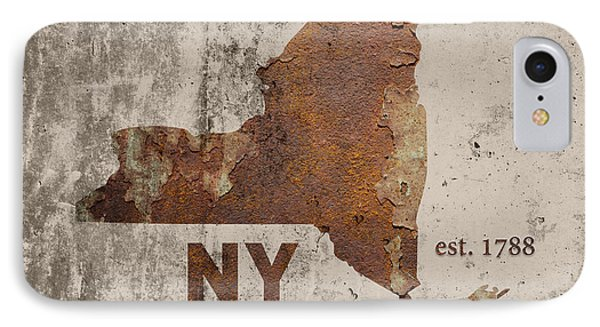 New York State Map Industrial Rusted Metal On Cement Wall With Founding Date Series 001 IPhone Case