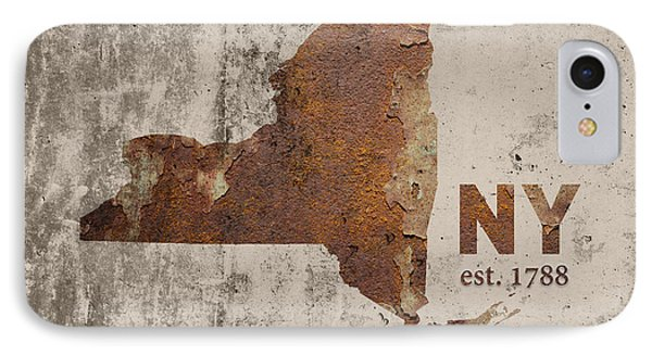 New York State Map Industrial Rusted Metal On Cement Wall With Founding Date Series 025 IPhone Case
