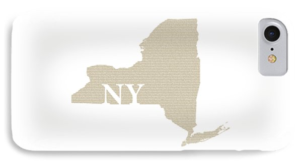 New York State Map With Text Of Constitution IPhone Case